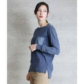 リアルデニムポケットインディゴ染め長袖Tシャツ (INDIGO-NAV)