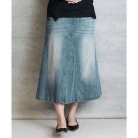 ウエストリブデニムロングスカート (BLUE)