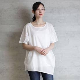 ローンランダムシルエットノースリーブシャツ (OFFWHITE)
