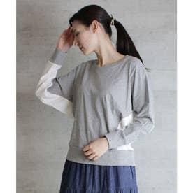 配色ドルマンロングTシャツ (M-GRAY)