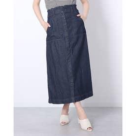 デニムフロントボタンAラインスカート (ONEW-NAVY)