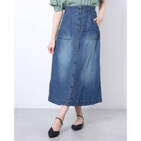 デニムフロントボタンAラインスカート (NAVY)