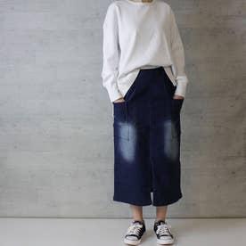 ストレッチデニムビッグポケットタイトスカート (NAVY)