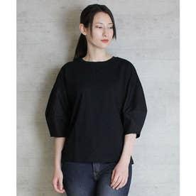 バックリボンぽわん袖Tシャツ (BLACK)