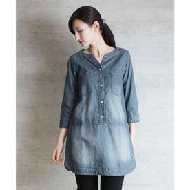 7分袖ダンガリーチュニックシャツ (BLUE)