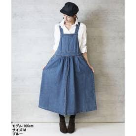 ギャザーデニムサロペットスカート (BLUE)