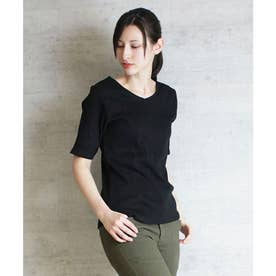 Vネック5分袖コットンリブTシャツ (BLACK)