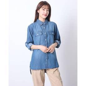 ステンカラービッグシルエットデニムシャツ (BLUE)