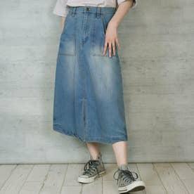 8.5OZストレッチデニムベイカースカート (BLUE)