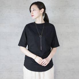 プチハイネック半袖Tシャツ (BLACK)