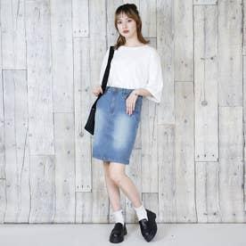 膝丈ストレッチタイトスカート (BLUE)