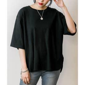ラウンドヘム オーバーサイズ 半袖 Tシャツ (BLACK)