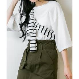 ラウンドヘム オーバーサイズ 半袖 Tシャツ (OFFWHITE)