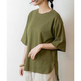 ラウンドヘム オーバーサイズ 半袖 Tシャツ (KHAKI)