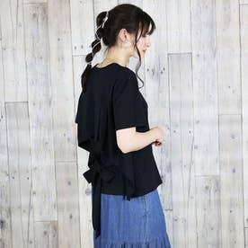 バックリボン付き半袖Tシャツ (ブラック)