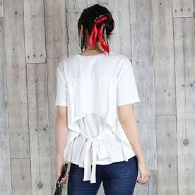 バックリボン付き半袖Tシャツ (ホワイト)