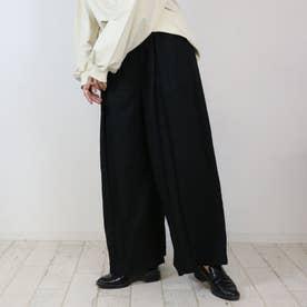 前タックワイドパンツ (BLACK)