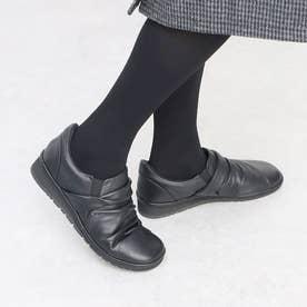 【3E】スクエアトゥドレープスリッポン (ブラック)