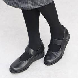 【3E】メリージェーンポイントステッチパンプス (ブラック)
