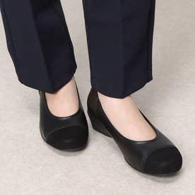 【3E】切り替えデザインコンフォートパンプス (ブラック)