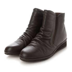 【3E】晴雨兼用ギャザーデザインショートブーツ (ダークブラウン)