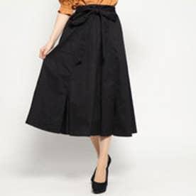 裾スリットフレアスカート (BK)