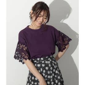袖レースカットソーTシャツ(パープル)