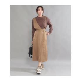 サテンワンショルダー2wayスカート (ブラウン(015))