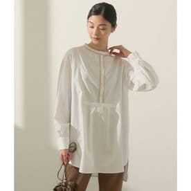 パイピングバンドカラーシャツ(ホワイト)
