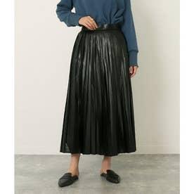 エコレザープリーツスカート(ブラック)