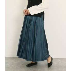 ベロアプリーツスカート(ブルー)
