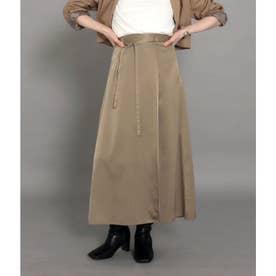 【低身長向けサイズ】サテンマキシラップスカート(グレージュ)