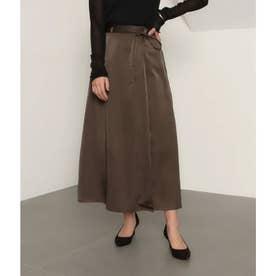 【低身長向けサイズ】サテンマキシラップスカート(ブラウン)