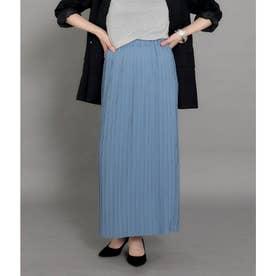 【低身長向けサイズ】Iラインロングプリーツスカート(ブルー)