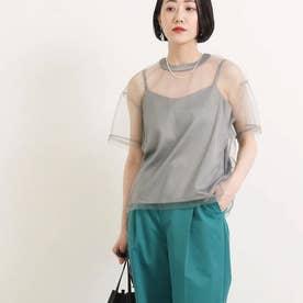 チュールTシャツ+キャミソールセット(グレー)