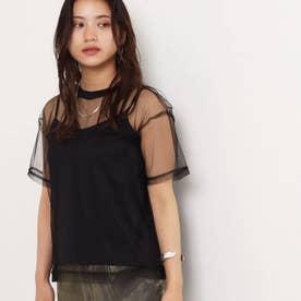 チュールTシャツ+キャミソールセット(ブラック)
