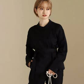 【低身長向けサイズ】レイヤードバンドカラーシャツ(ブラック)