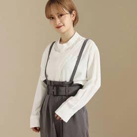 【低身長向けサイズ】レイヤードバンドカラーシャツ(ホワイト)