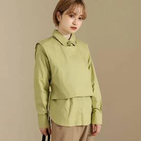 【低身長向けサイズ】2wayシャツトップス(グリーン)