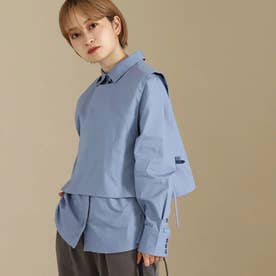 【低身長向けサイズ】2wayシャツトップス(ブルー)