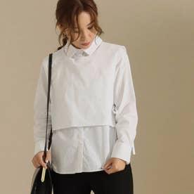 【低身長向けサイズ】2wayシャツトップス(ホワイト)