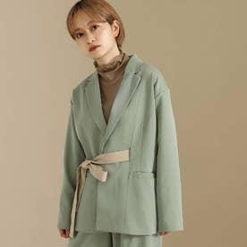 【低身長向けサイズ】配色リボンベルト付きロングジャケット(グリーン)