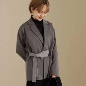 【低身長向けサイズ】配色リボンベルト付きロングジャケット(グレー)
