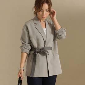 【低身長向けサイズ】配色リボンベルト付きロングジャケット(グレージュ)