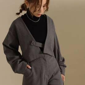 【低身長向けサイズ】ノーカラー袖タックショートジャケット(グレー)