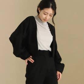 【低身長向けサイズ】ノーカラー袖タックショートジャケット(ブラック)