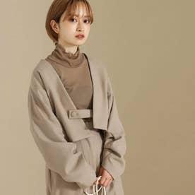 【低身長向けサイズ】ノーカラー袖タックショートジャケット(ライトベージュ)
