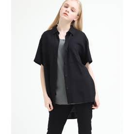 レーヨンリネンスモッキングオーバーシャツ (ブラック)