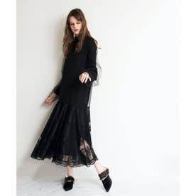 レースレイヤードドレス (ブラック)