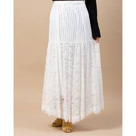 ミックスレーススカート (ホワイト)